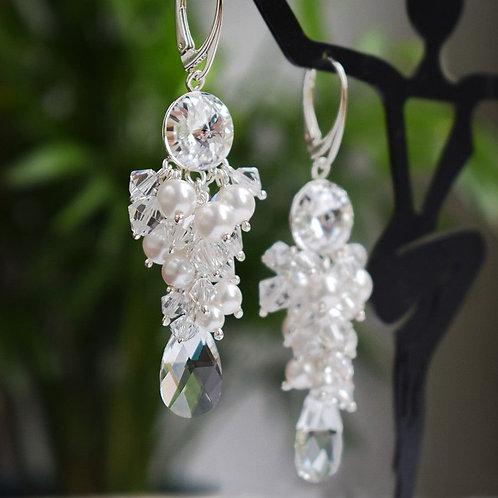GIANNA Grape Style White Pearl and Crystal Swarovski Earrings