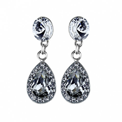 ELEGANT White Crystal Teardrop Swarovski Pierced Earrings