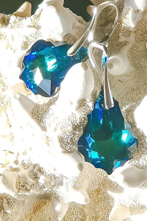 BAROQUE Swarovski Bermuda Blue Crystal Earrings
