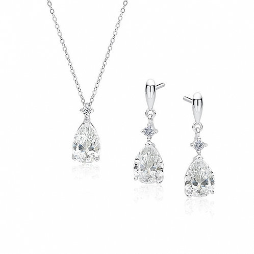 AMELIA Rhodium-plated Bridal Silver Set with White Austrian Cubic Zirconia