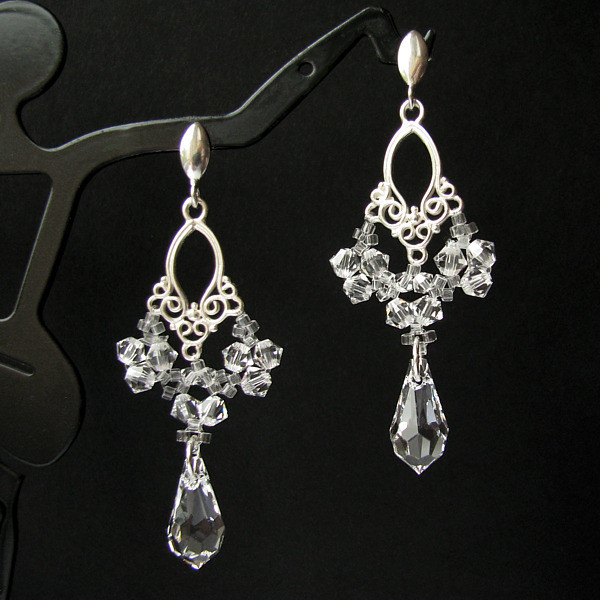 LACEY Vintage Style Filigree Swarovski Crystal Drop Earrings