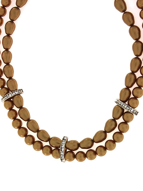 CARMELIA Double Golden-Caramel Pearls with Crystals Swarovski Necklace