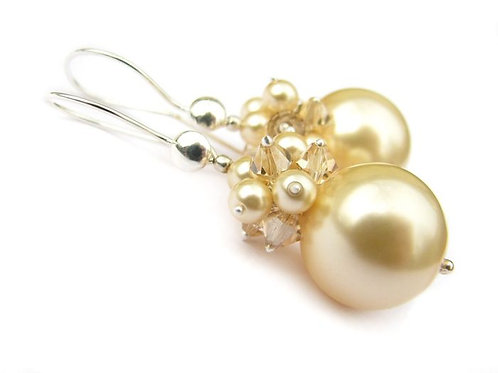 PHOEBE Light Gold Swarovski Pearl and Golden Shadow Crystal Earrings