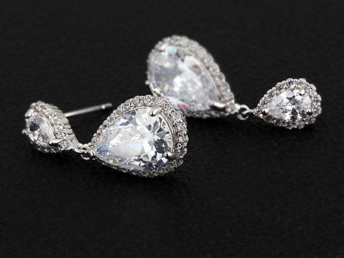SARA Vintage Crystal Teardrop Earrings