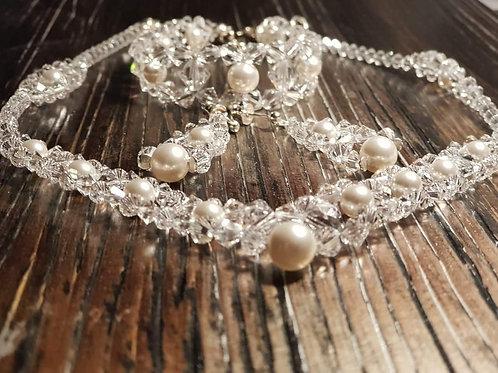 VANESSA Swarovski Pearl Crystal Necklace, Bracelet and Earring Set
