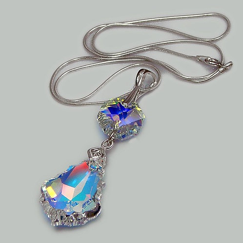 DIOR Swarovski Aurora Borealis Christian Dior Chain Necklace