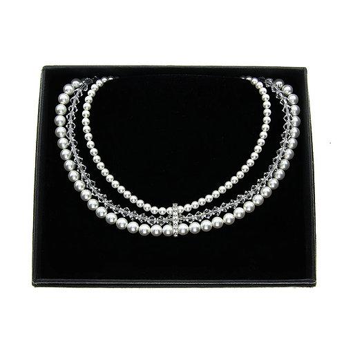 BLANCA Swarovski Crystal Triple Strand Pearl Necklace
