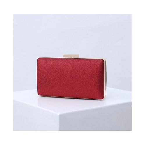 MADISON Classic Red Glitter Mesh Compact Box Clutch Bag