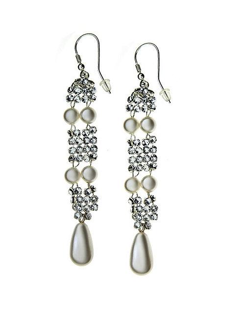 MARILYN Swarovski Pearl Crystal Vintage Swarovski Long Earrings