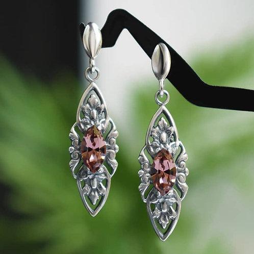 VIENNE Vintage Retro Blush Rose Swarovski Crystal Earrings