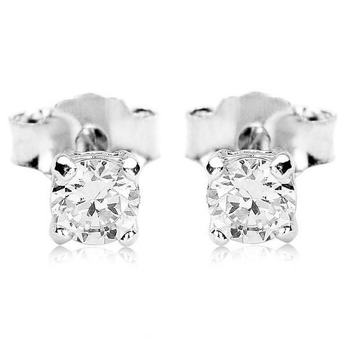 MYA Diamond Cut Cubic Zirconia Stud Earrings 0.5cm
