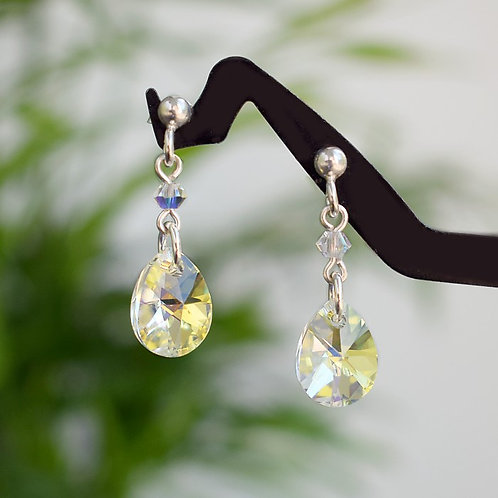 SARAH Classic Teardrop Swarovski Aurora Borealis Crystal Earrings