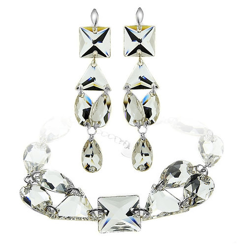 THEA White Swarovski Crystal Bracelet & Earring Set with Engraving