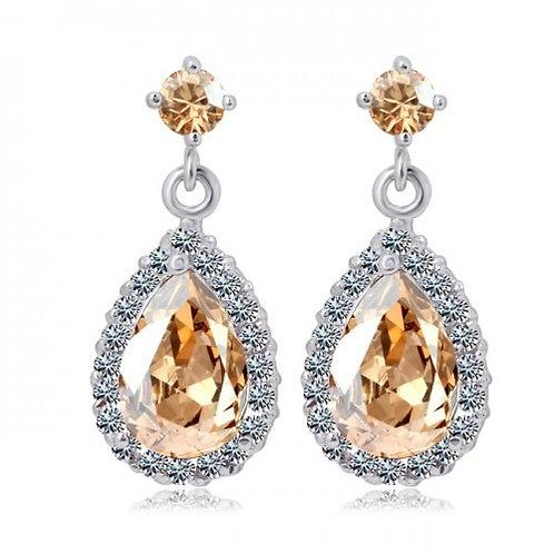 CHANTALE Vintage Champagne Crystal Teardrop Earrings
