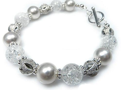 SNOWY Swarovski  Crystal Pearls Bracelet