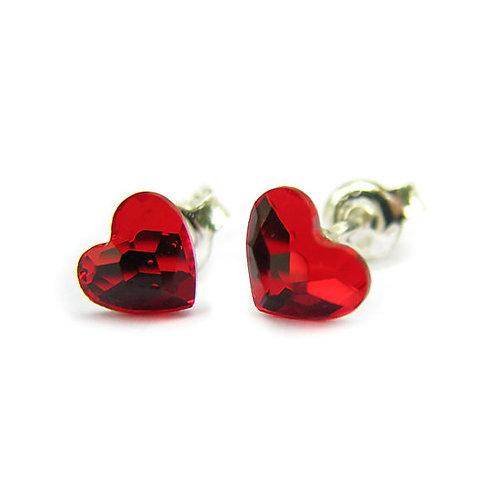 LOVE Hearts Swarovski Light Siam Crystal F Stud Earrings