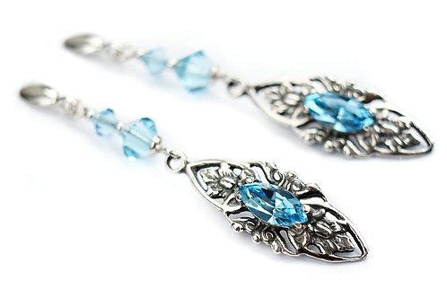 VIVIENNE Vintage Retro Aquamarine Swarovski Crystal Earrings