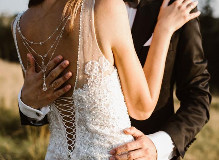 JOANA Crystal Drop with Cascading Swarovski Crystals Modern Back Necklace