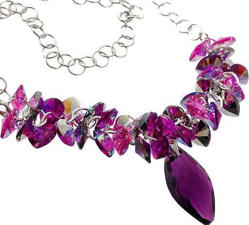NAVI Amethyst Rose Swarovski Crystal Necklace