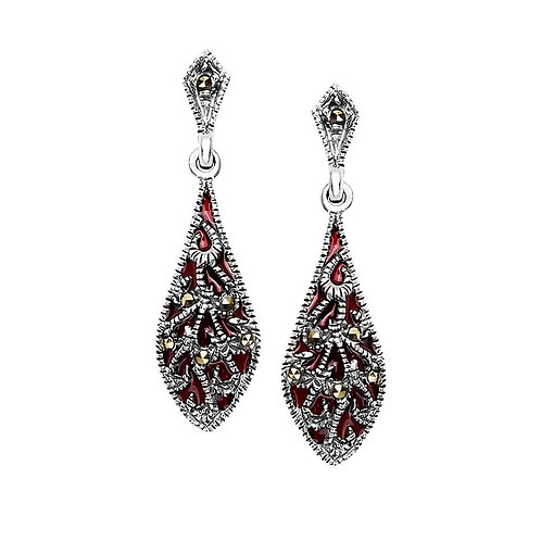 LUISA Art Deco Oxidoxed Silver and Marcasite Earrings