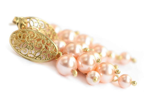 LILA Peach 24ct Gold-plated Swarovski Pearl Earrings