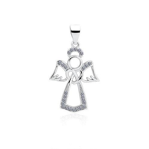 Rhodium-plated Angel 2 Pendant with Cubic Zirconia