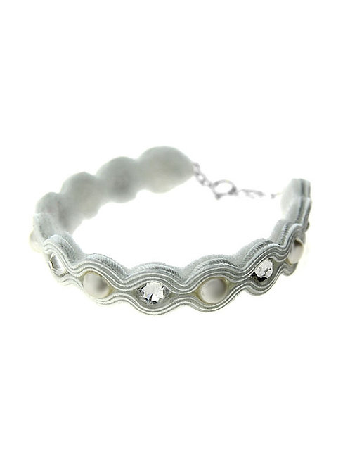 SOUTACHE Swarovski Pearl and Crystal Bridal Bracelet