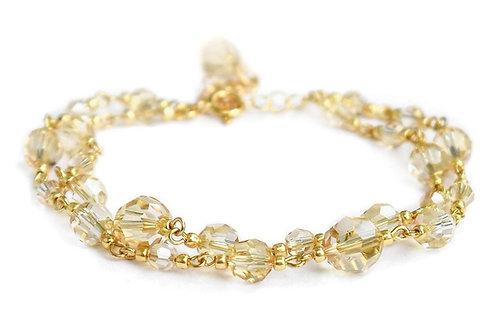 JASMINE Double Gold-plated 24ct Golden Shadow Swarovski Crystal Bracelet