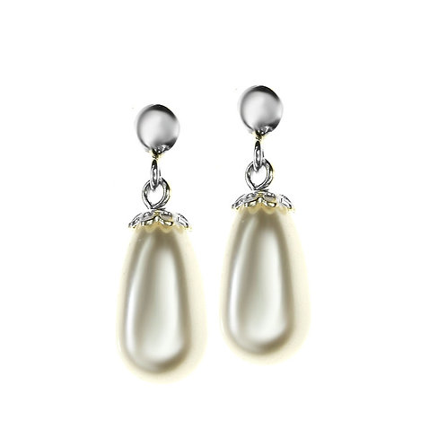 ALICE Ecru Swarovski Teardrop Pearl Earrings