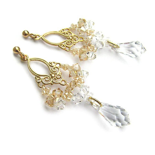 LACEY Gold-plated Vintage and Golden Shadow & Clear Swarovski Crystal Earrings