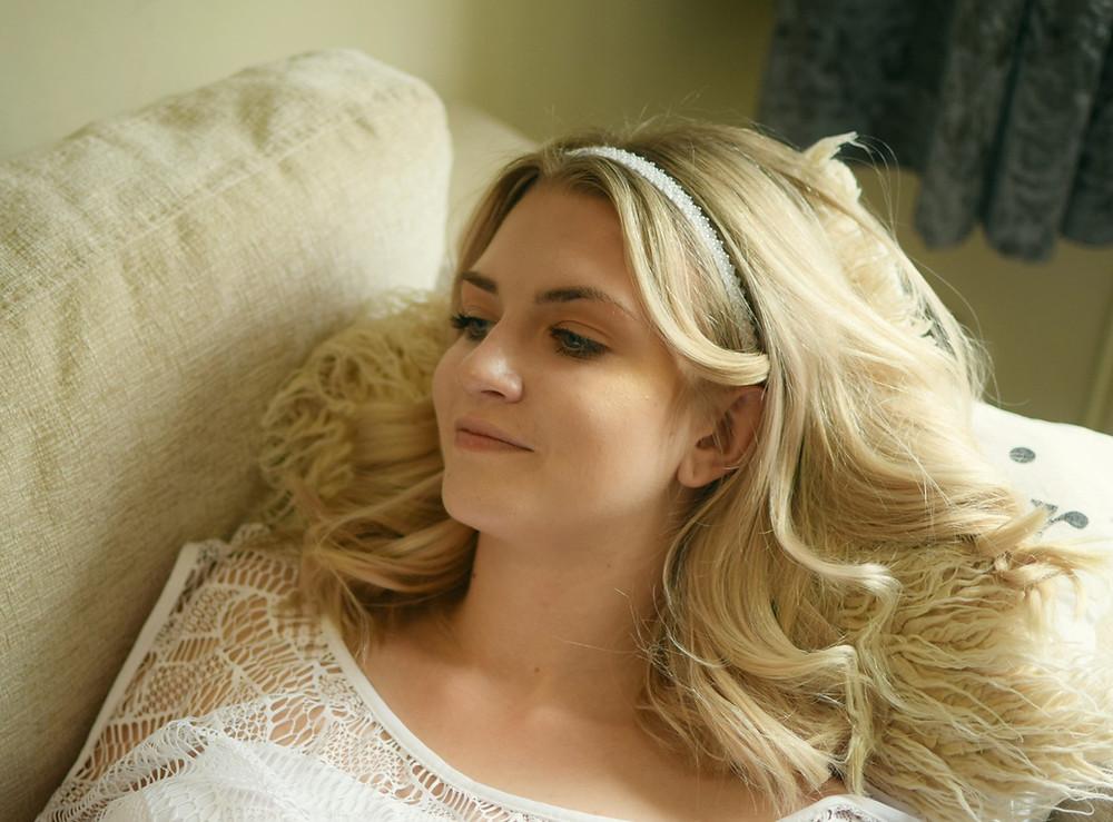CHARLOTTE Delicate White Beaded Wedding Headband - Touch of Venus Jewellery