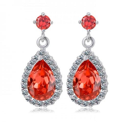 CHANTALE Vintage Red Crystal Teardrop Earrings