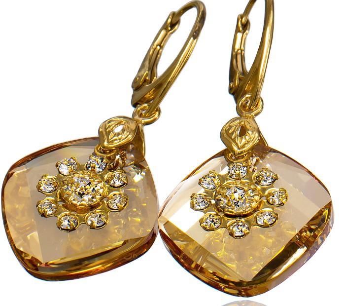 METRO Flow Golden Shadow Swarovski Crystal Earrings