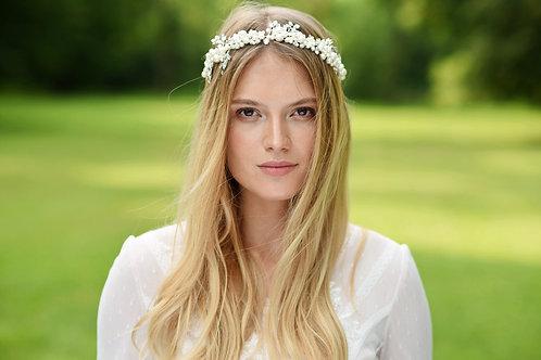 ARIA Bohemian Style Pearl and Crystal Leaf Bridal Headband