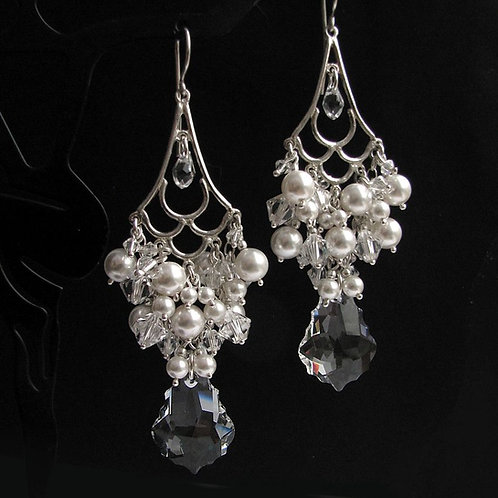 CHLOE Chandelier Style Swarovski White Pearl Crystal Long Earrings
