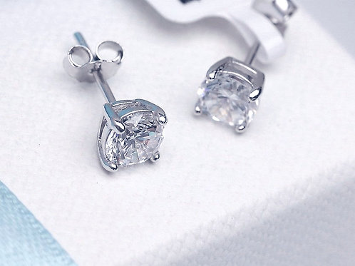 MYA Diamond Cut Cubic Zirconia Stud Earrings 0.5cm