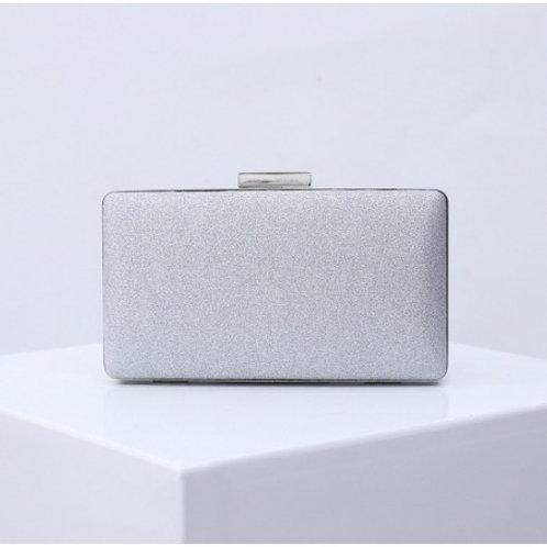 MADISON Classic Silver Glitter Mesh Compact Box Clutch Bag