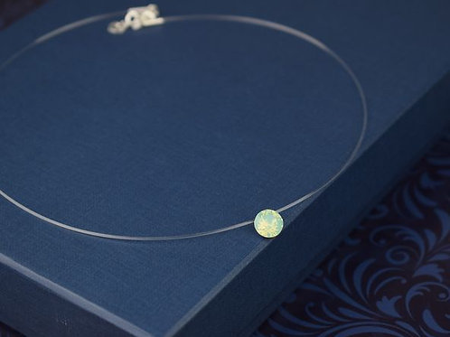 LIN Floating Round Swarovski Pacific Opal Crystal Illusion Necklace