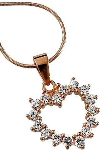 HEART Rose Gold-plated Heart and Cubic Zirconia Silver Necklace