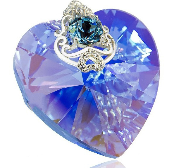 SAPPHIRE Light Heart-shaped Swarovski Large Crystal with Cubic Zirconia Pendant