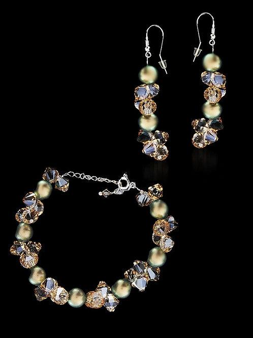 TESA Golden-Beige Crystal Pearl Swarovski Bracelet & Earring Set