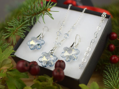 SNOWFLAKES Magic Swarovski Blue Shade Crystal Set
