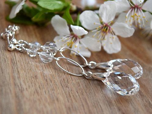 CLASSIC Graceful Long 6cm Tear Drop Crystal Clear Swarovski Earrings