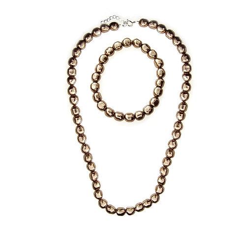 CAPPUCINO Swarovski Pearl Necklace & Earring Set