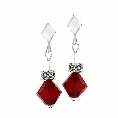 LULU Swarovski Red Crystal Summer Pierced Earrings