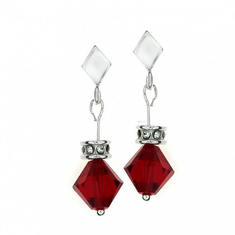 LULU Swarovski Red Crystal Summer Pierced Earrings