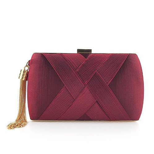 ELLE Stylish Pattern Burgundy Stylish Box Clutch Bag