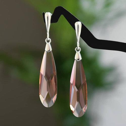 VIVE Slender Blush Rose Swarovski Crystal Earrings