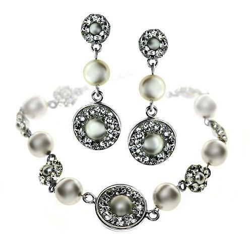 NOEMI Swarovski Ecru Pearl Bracelet and Earrings Set