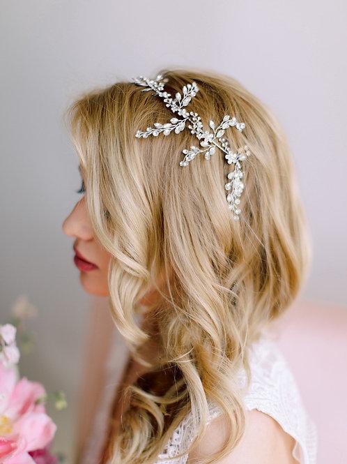 LILOU Floral Boho Crystal Bridal Headband - Vine